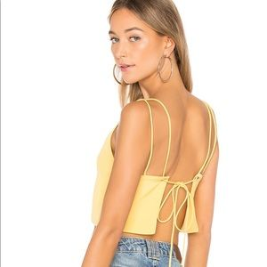 Yellow backless crop top